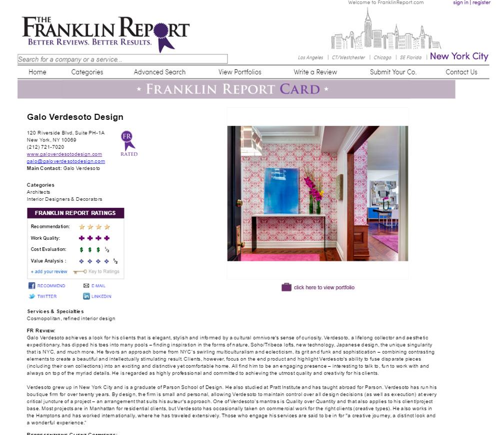 The Franklin Report Website printscreen